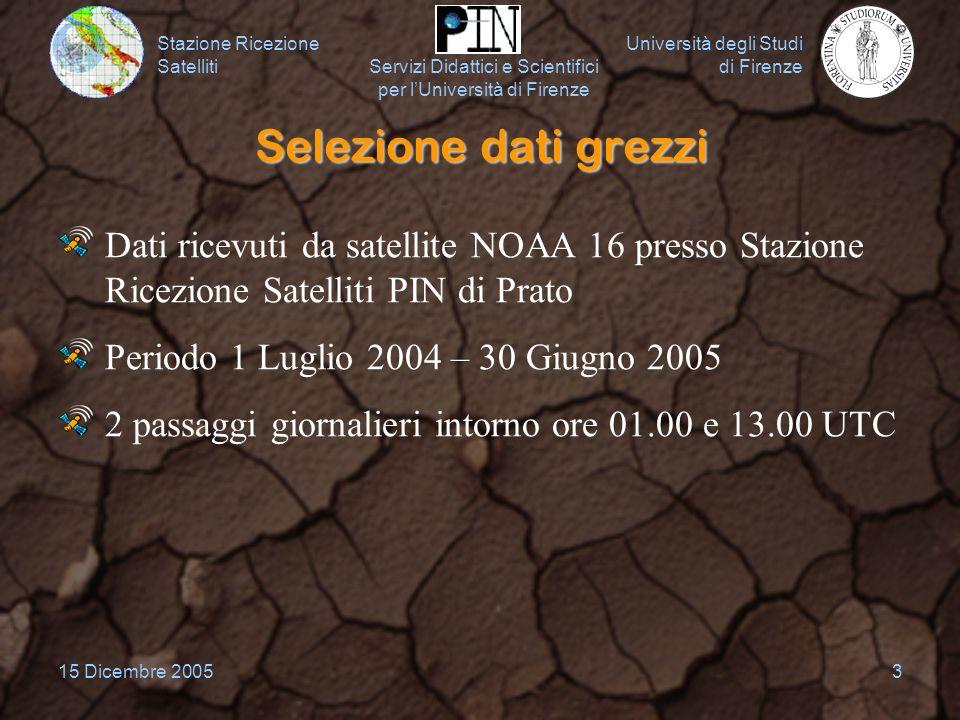 Stazione Ricezione Satelliti Università degli Studi di Firenze Servizi Didattici e Scientifici per lUniversità di Firenze 15 Dicembre 20053 Selezione