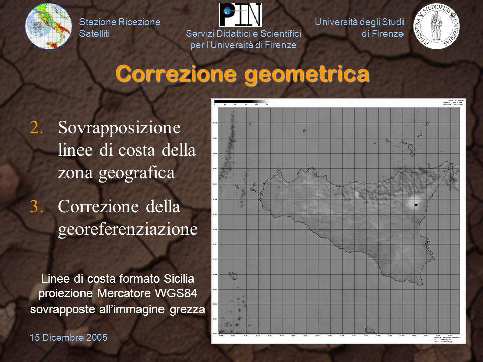 Stazione Ricezione Satelliti Università degli Studi di Firenze Servizi Didattici e Scientifici per lUniversità di Firenze 15 Dicembre 20058 Correzione