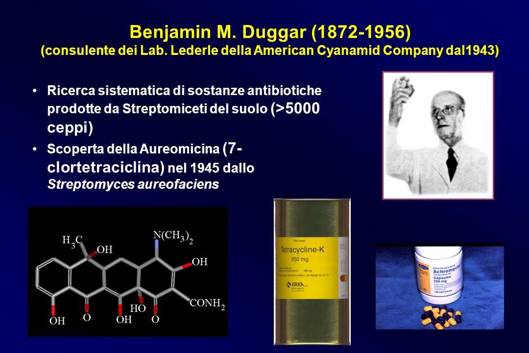 Benjamin M. Duggar (1872-1956) (consulente dei Lab. Lederle della American Cyanamid Company dal1943) Scoperta della Aureomicina (7- clortetraciclina)