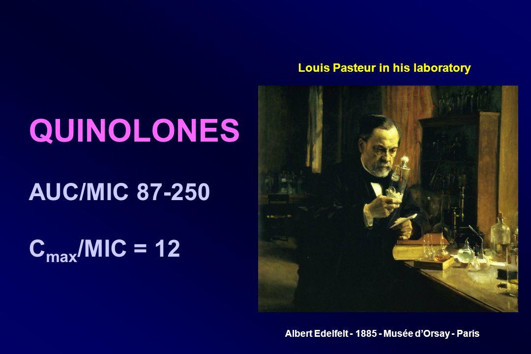 Louis Pasteur in his laboratory Albert Edelfelt - 1885 - Musée dOrsay - Paris QUINOLONES AUC/MIC 87-250 C max /MIC = 12