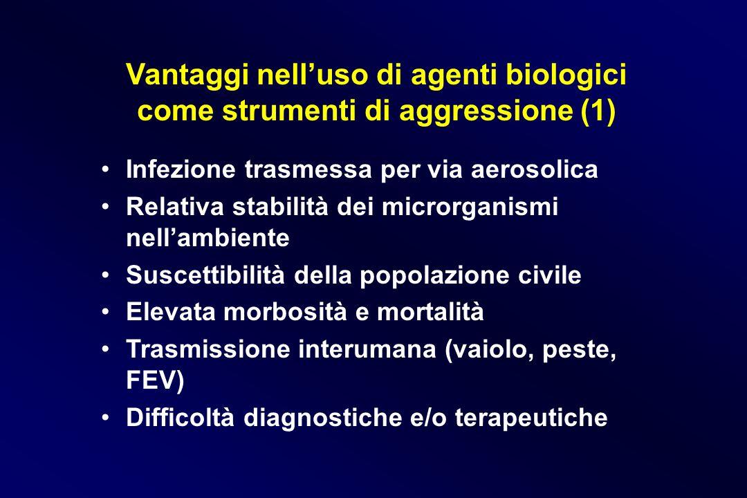 Vantaggi nelluso di agenti biologici come strumenti di aggressione (1) Infezione trasmessa per via aerosolica Relativa stabilità dei microrganismi nel