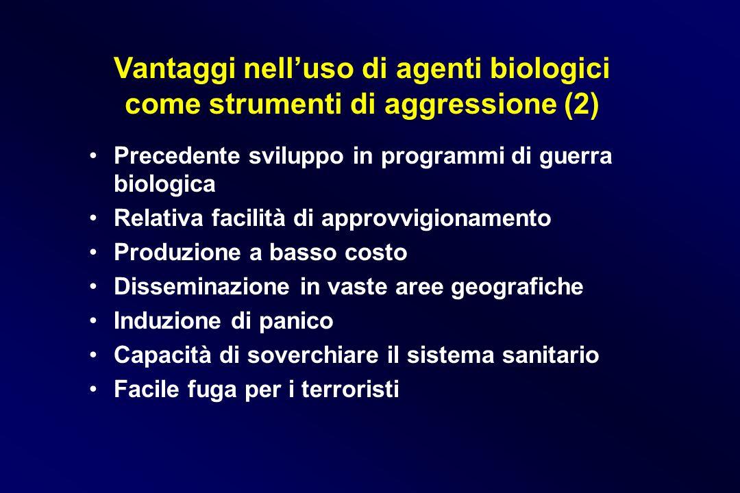 Vantaggi nelluso di agenti biologici come strumenti di aggressione (2) Precedente sviluppo in programmi di guerra biologica Relativa facilità di appro