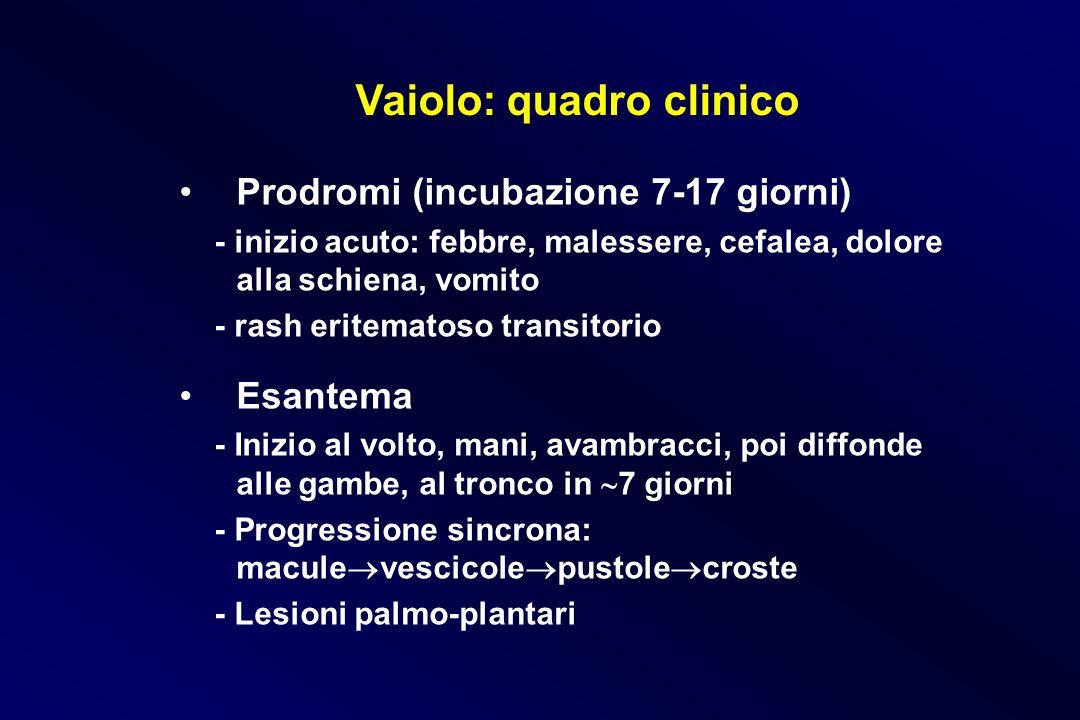 Vaiolo: quadro clinico Prodromi (incubazione 7-17 giorni) - inizio acuto: febbre, malessere, cefalea, dolore alla schiena, vomito - rash eritematoso t