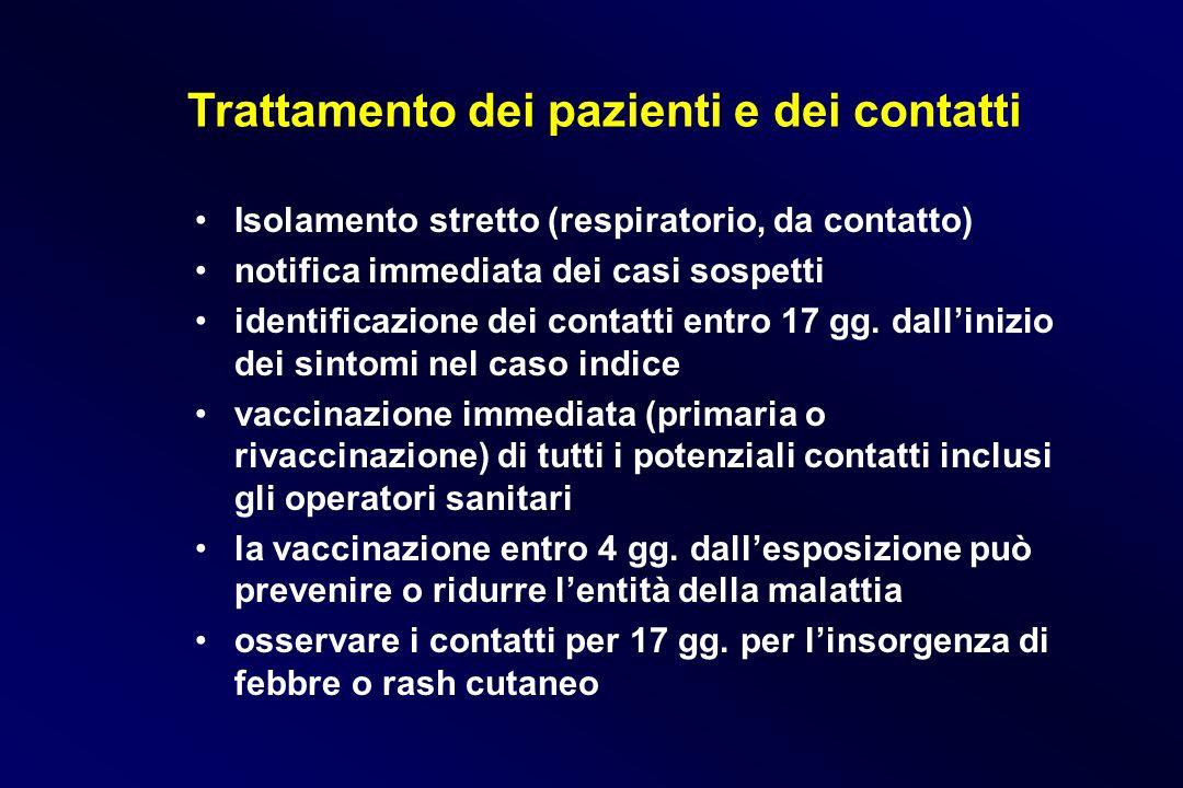Trattamento dei pazienti e dei contatti Isolamento stretto (respiratorio, da contatto) notifica immediata dei casi sospetti identificazione dei contat