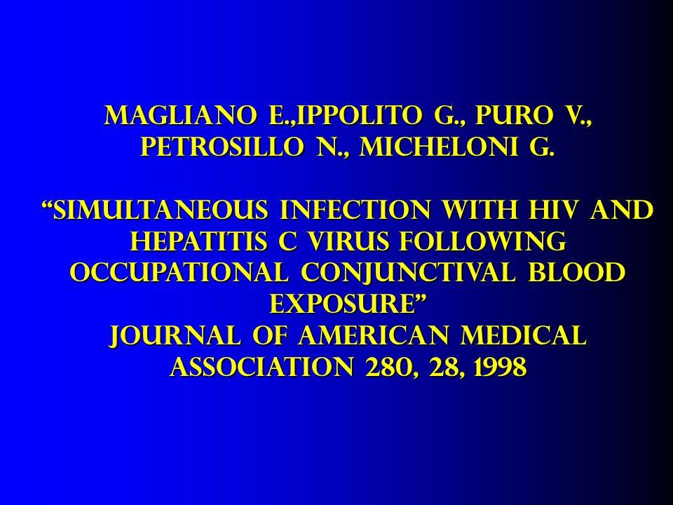 MAGLIANO E.,IPPOLITO G., PURO V., PETROSILLO N., MICHELONI G. Simultaneous infection with HIV and Hepatitis C virus following Occupational Conjunctiva