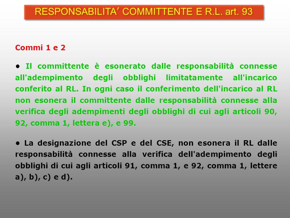 Commi 1 e 2 Il committente è esonerato dalle responsabilità connesse all'adempimento degli obblighi limitatamente all'incarico conferito al RL. In ogn
