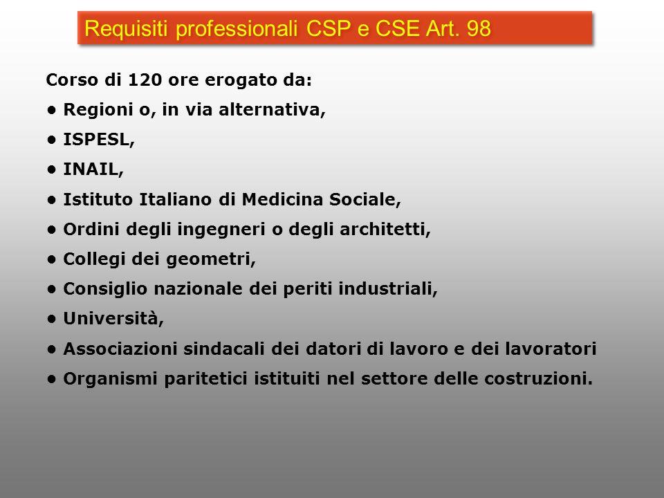 Requisiti professionali CSP e CSE Art. 98 Corso di 120 ore erogato da: Regioni o, in via alternativa, ISPESL, INAIL, Istituto Italiano di Medicina Soc