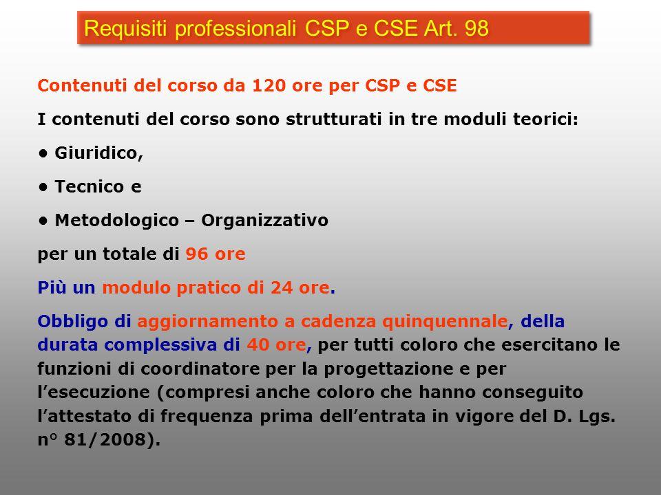 Requisiti professionali CSP e CSE Art. 98 Contenuti del corso da 120 ore per CSP e CSE I contenuti del corso sono strutturati in tre moduli teorici: G