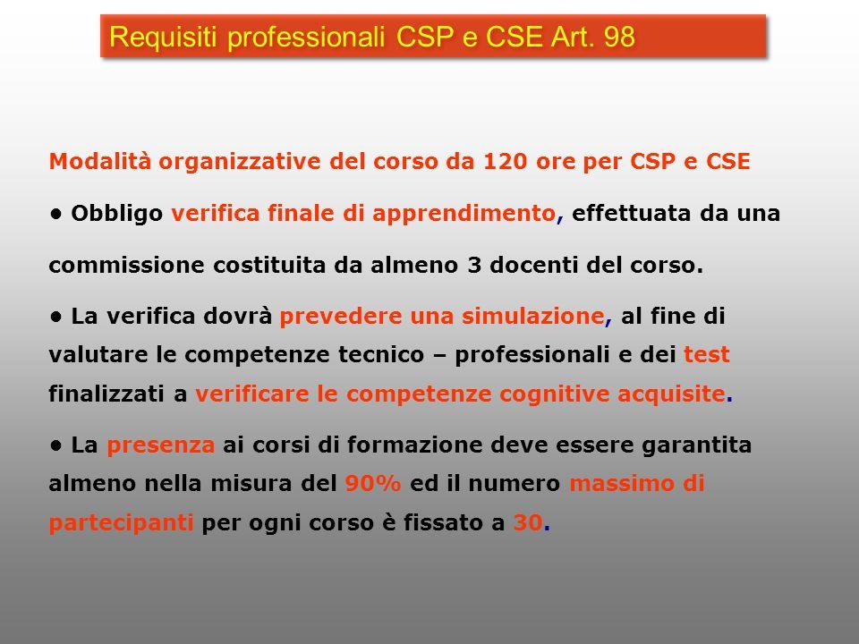 Requisiti professionali CSP e CSE Art. 98 Modalità organizzative del corso da 120 ore per CSP e CSE Obbligo verifica finale di apprendimento, effettua