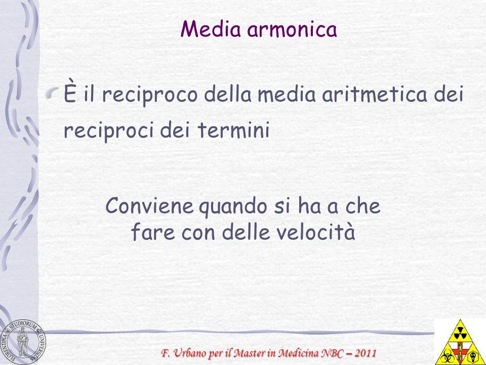 F. Urbano per il Master in Medicina NBC – 2011 Media armonica È il reciproco della media aritmetica dei reciproci dei termini Conviene quando si ha a