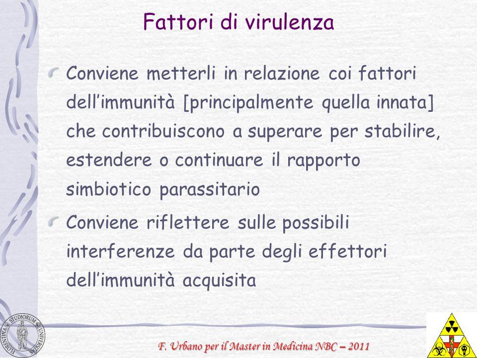F. Urbano per il Master in Medicina NBC – 2011 Fattori di virulenza Conviene metterli in relazione coi fattori dellimmunità [principalmente quella inn