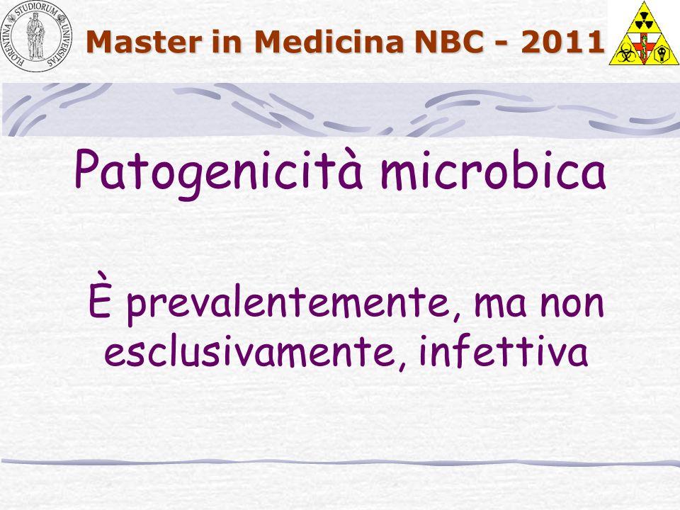 Master in Medicina NBC - 2011 Patogenicità microbica È prevalentemente, ma non esclusivamente, infettiva