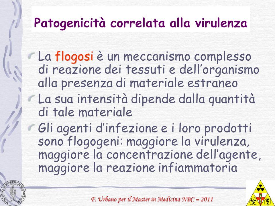 F. Urbano per il Master in Medicina NBC – 2011 Patogenicità correlata alla virulenza flogosi La flogosi è un meccanismo complesso di reazione dei tess
