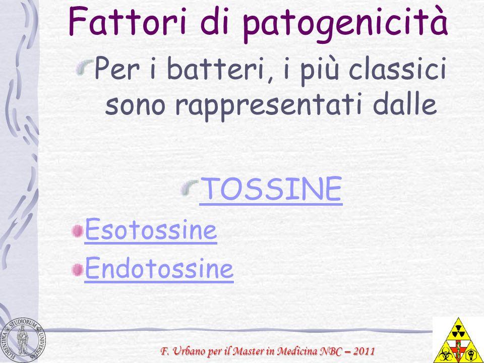 F. Urbano per il Master in Medicina NBC – 2011 Fattori di patogenicità Per i batteri, i più classici sono rappresentati dalle TOSSINE Esotossine Endot