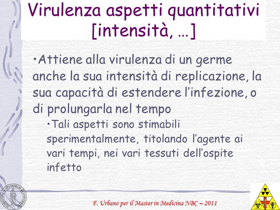 F. Urbano per il Master in Medicina NBC – 2011 Virulenza aspetti quantitativi [intensità, …] Attiene alla virulenza di un germe anche la sua intensità