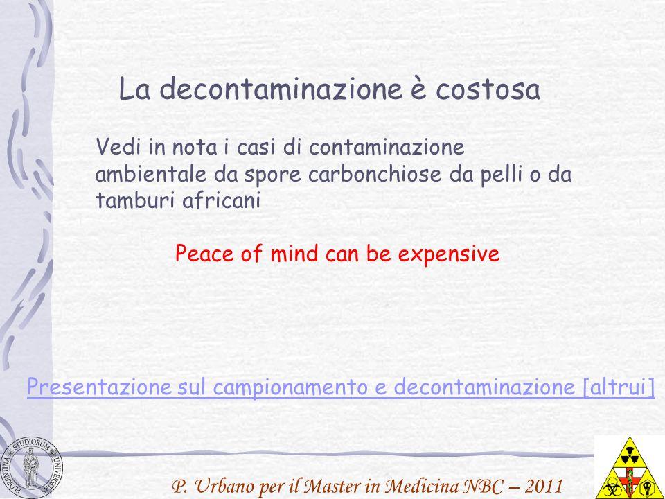 P. Urbano per il Master in Medicina NBC – 2011 La decontaminazione è costosa Vedi in nota i casi di contaminazione ambientale da spore carbonchiose da