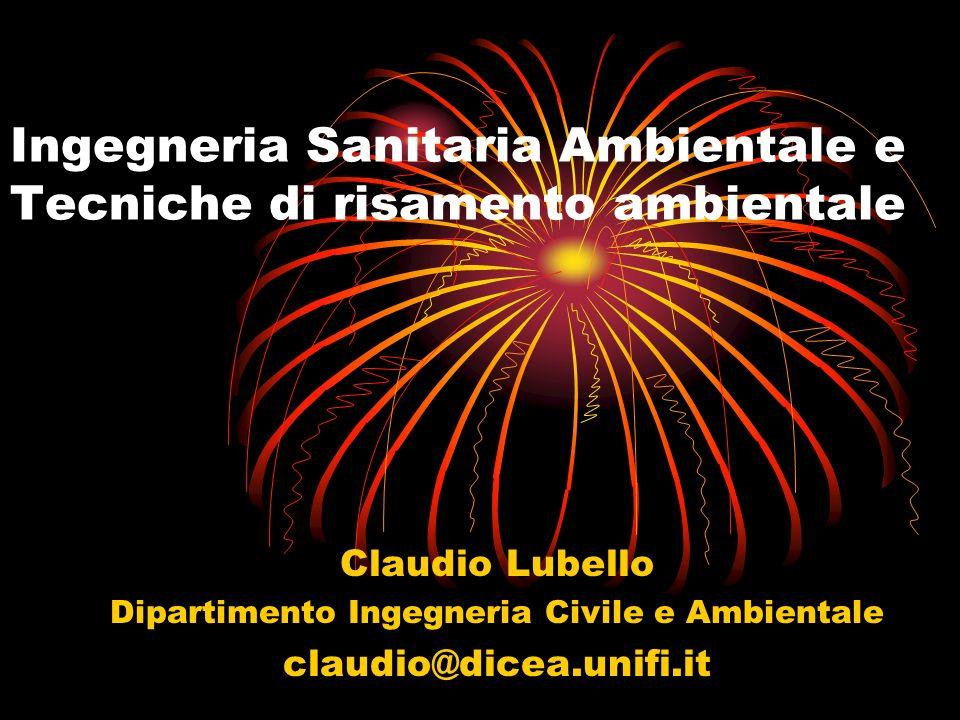 Ingegneria Sanitaria Ambientale e Tecniche di risamento ambientale Claudio Lubello Dipartimento Ingegneria Civile e Ambientale claudio@dicea.unifi.it