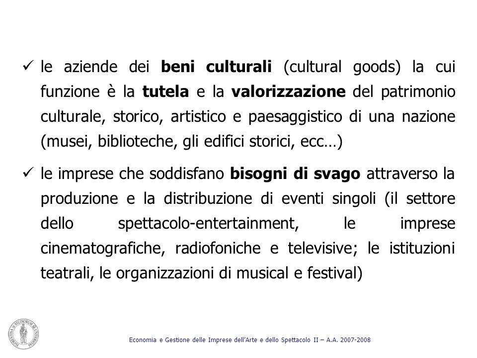 le aziende dei beni culturali (cultural goods) la cui funzione è la tutela e la valorizzazione del patrimonio culturale, storico, artistico e paesaggi