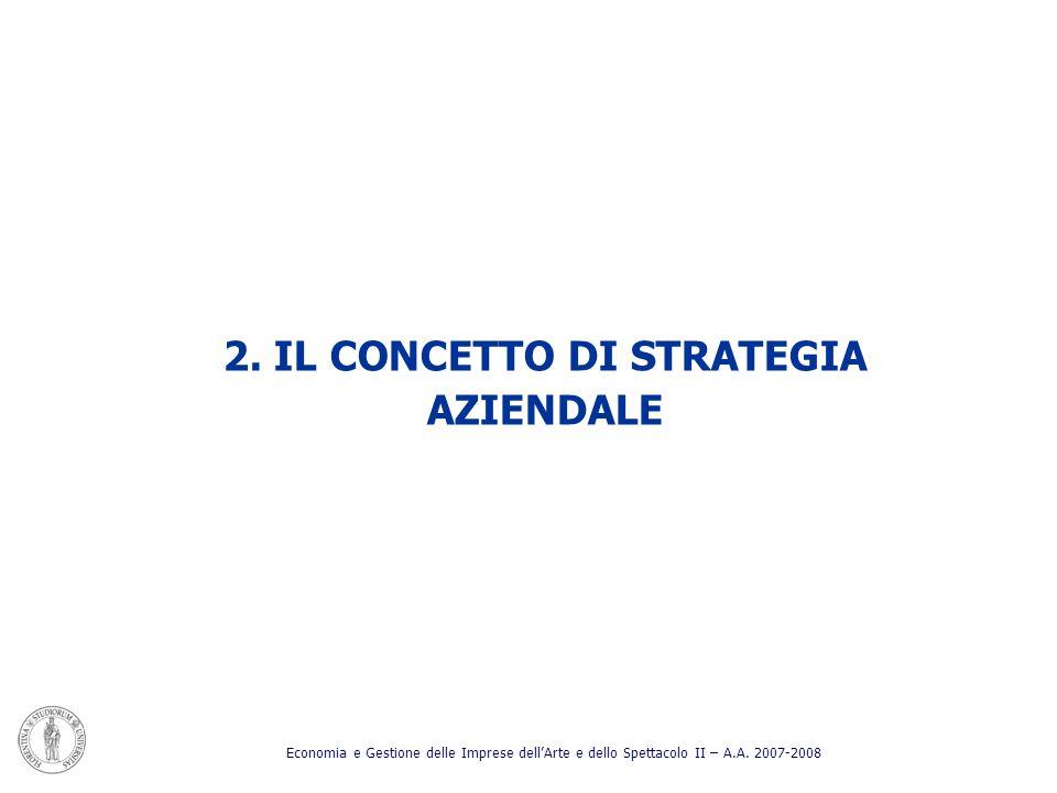 2. IL CONCETTO DI STRATEGIA AZIENDALE Economia e Gestione delle Imprese dellArte e dello Spettacolo II – A.A. 2007-2008