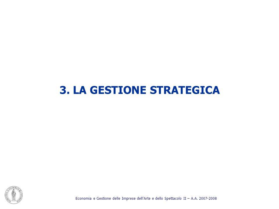 3. LA GESTIONE STRATEGICA Economia e Gestione delle Imprese dellArte e dello Spettacolo II – A.A. 2007-2008