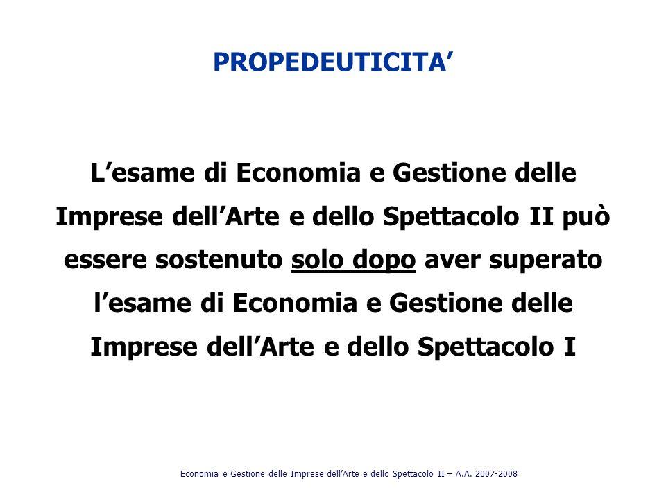 PROPEDEUTICITA Lesame di Economia e Gestione delle Imprese dellArte e dello Spettacolo II può essere sostenuto solo dopo aver superato lesame di Econo