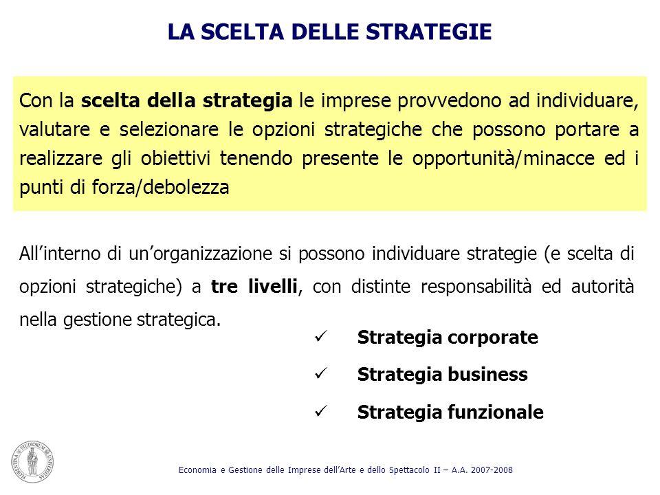 Strategia corporate Strategia business Strategia funzionale LA SCELTA DELLE STRATEGIE Allinterno di unorganizzazione si possono individuare strategie