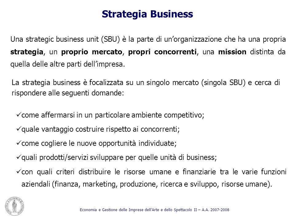 Una strategic business unit (SBU) è la parte di unorganizzazione che ha una propria strategia, un proprio mercato, propri concorrenti, una mission dis