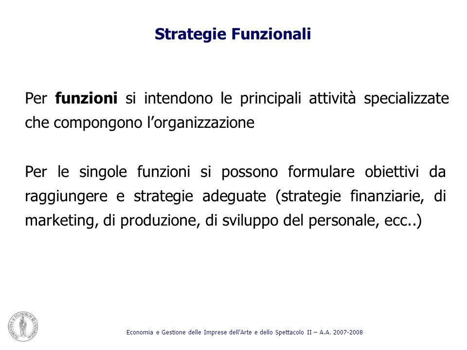 Per funzioni si intendono le principali attività specializzate che compongono lorganizzazione Per le singole funzioni si possono formulare obiettivi d