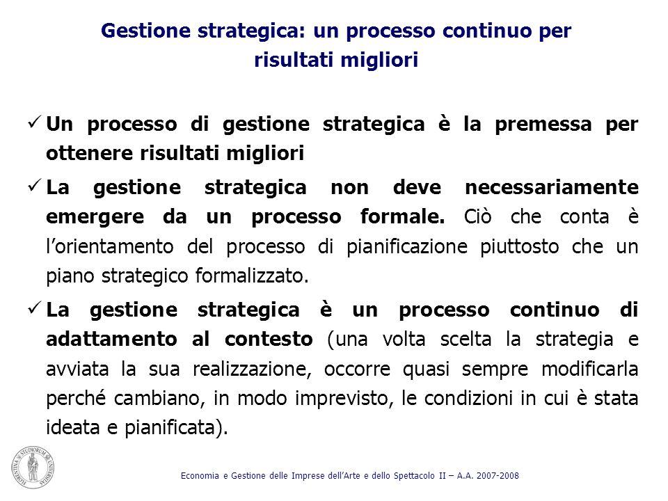 Gestione strategica: un processo continuo per risultati migliori Un processo di gestione strategica è la premessa per ottenere risultati migliori La g