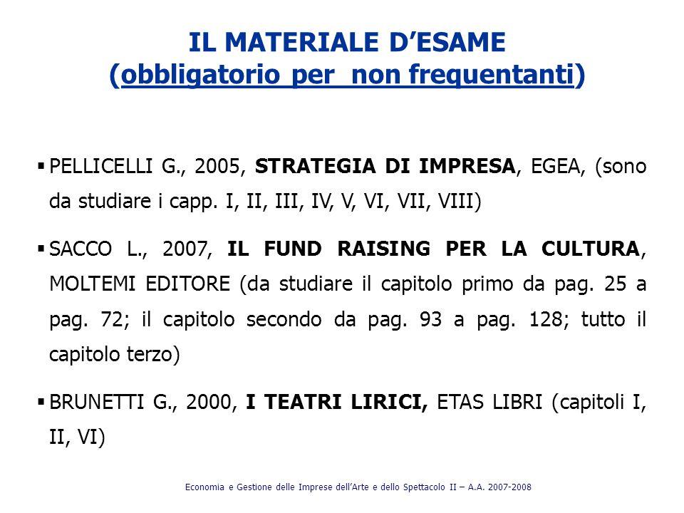 IL MATERIALE DESAME (obbligatorio per non frequentanti) PELLICELLI G., 2005, STRATEGIA DI IMPRESA, EGEA, (sono da studiare i capp. I, II, III, IV, V,