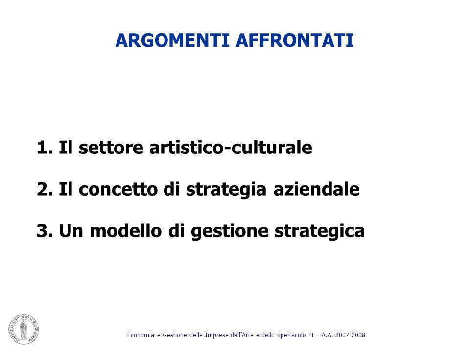 ARGOMENTI AFFRONTATI 1. Il settore artistico-culturale 2. Il concetto di strategia aziendale 3. Un modello di gestione strategica Economia e Gestione