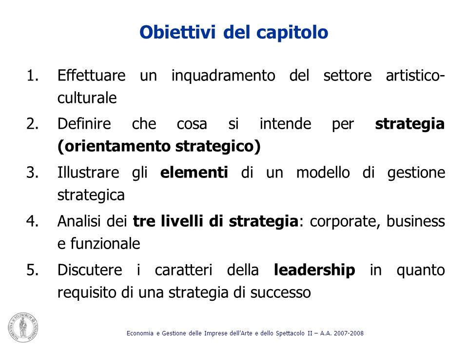 Obiettivi del capitolo 1.Effettuare un inquadramento del settore artistico- culturale 2.Definire che cosa si intende per strategia (orientamento strat