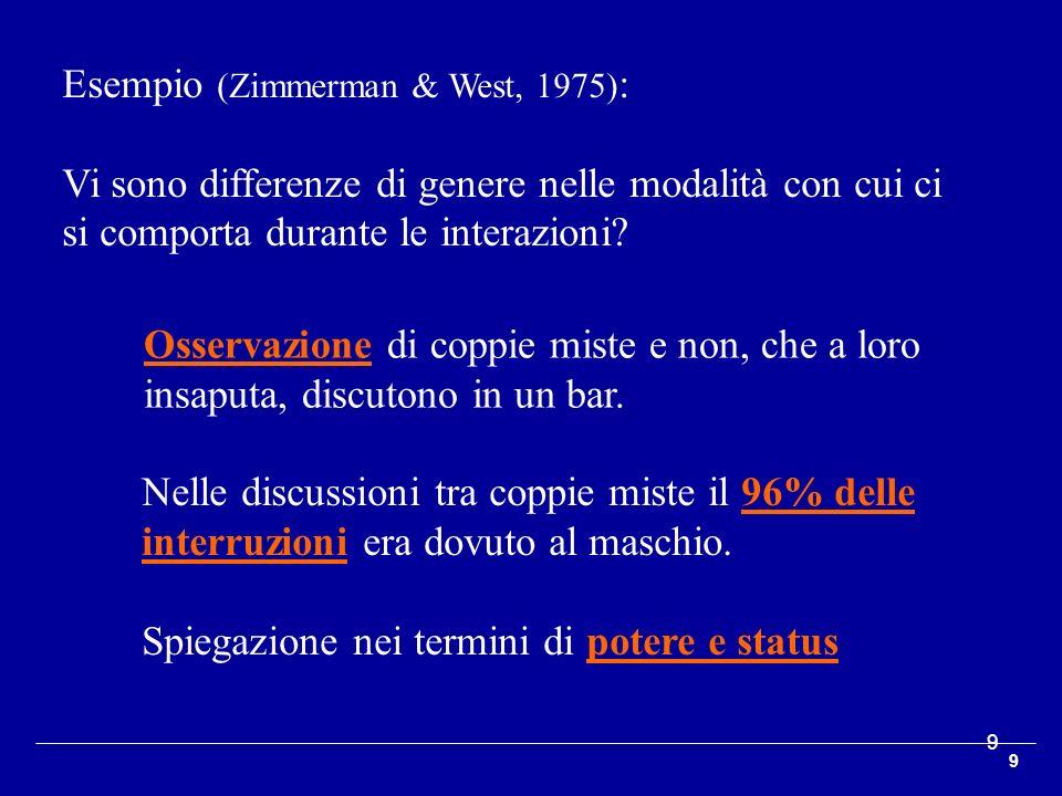 9 9 Esempio (Zimmerman & West, 1975) : Vi sono differenze di genere nelle modalità con cui ci si comporta durante le interazioni? Osservazione di copp