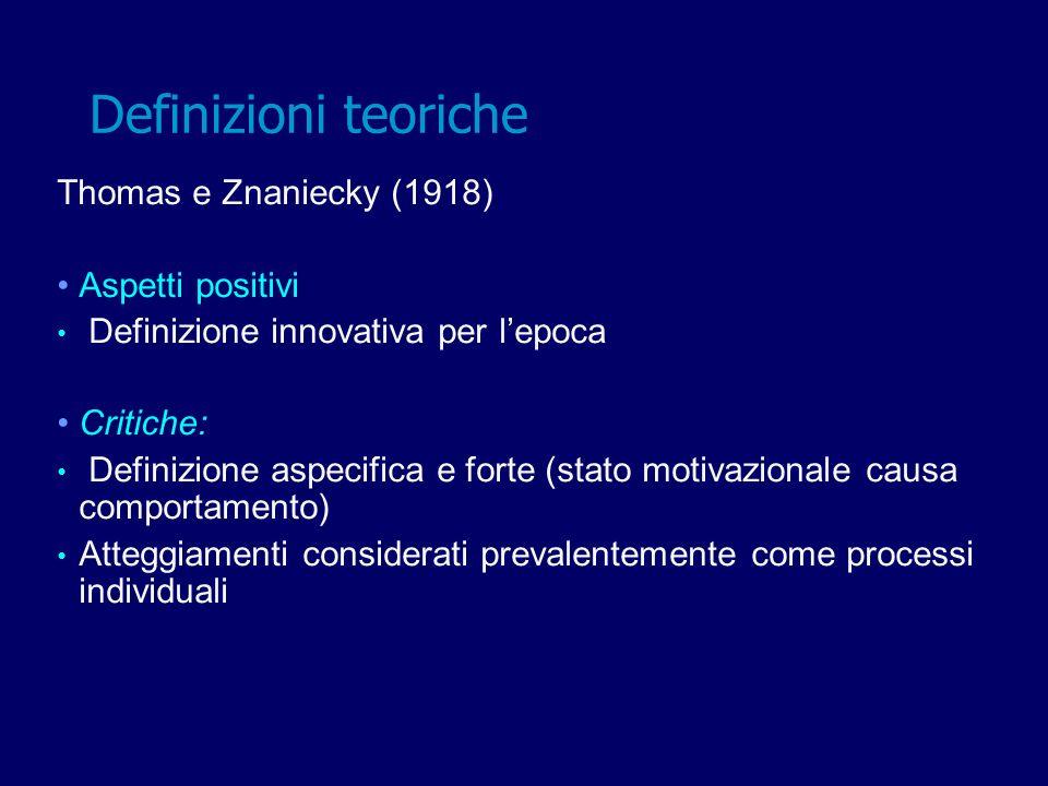 Thomas e Znaniecky (1918) Aspetti positivi Definizione innovativa per lepoca Critiche: Definizione aspecifica e forte (stato motivazionale causa compo