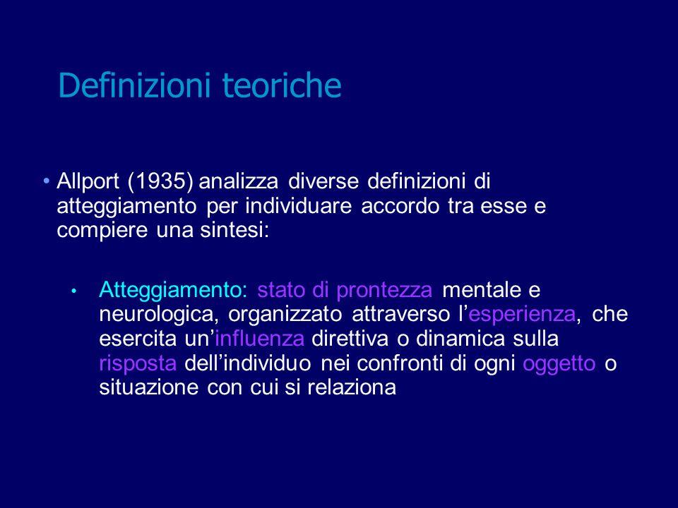 Allport (1935) analizza diverse definizioni di atteggiamento per individuare accordo tra esse e compiere una sintesi: Atteggiamento: stato di prontezz