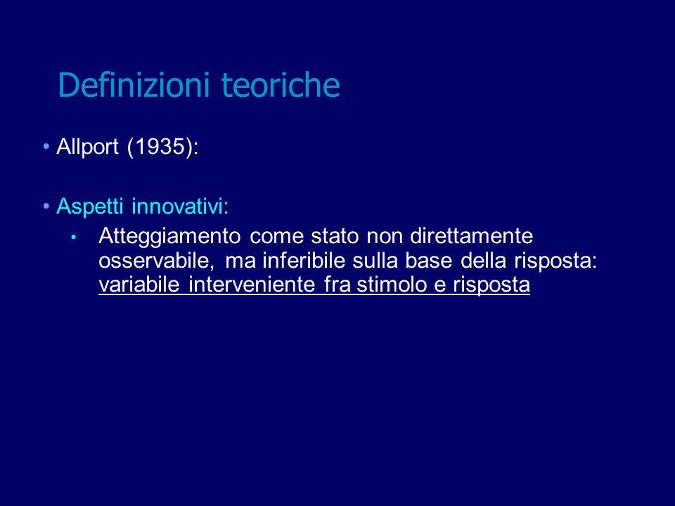 Allport (1935): Aspetti innovativi: Atteggiamento come stato non direttamente osservabile, ma inferibile sulla base della risposta: variabile interven