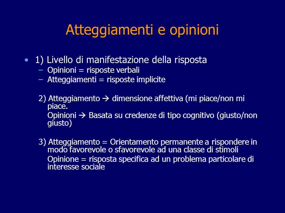 Atteggiamenti e opinioni 1) Livello di manifestazione della risposta –Opinioni = risposte verbali –Atteggiamenti = risposte implicite 2) Atteggiamento