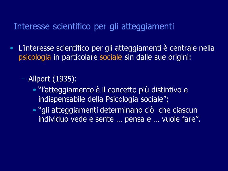 Interesse scientifico per gli atteggiamenti Linteresse scientifico per gli atteggiamenti è centrale nella psicologia in particolare sociale sin dalle