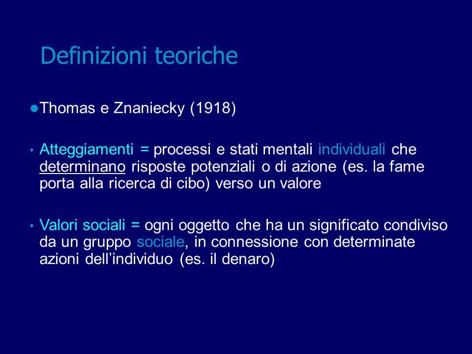Thomas e Znaniecky (1918): definizione che distingue due ambiti: Sociale: stimoli, oggetti verso cui porre interesse e sviluppare atteggiamenti; Individuale: processi cognitivi e emotivi attraverso cui sono elaborati gli atteggiamenti Atteggiamenti = controparti individuali di valori sociali Definizioni teoriche