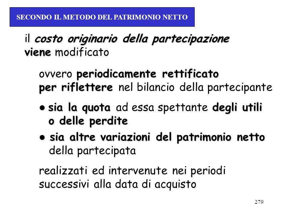 279 costo originario della partecipazione il costo originario della partecipazione viene viene modificato periodicamente rettificato ovvero periodicam