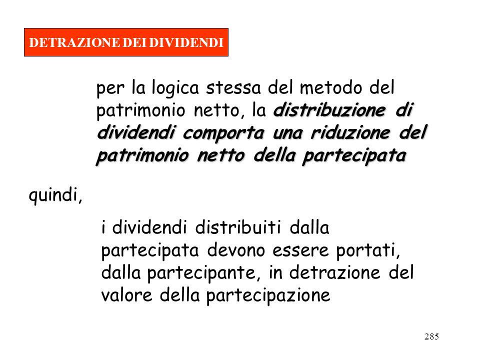 285 DETRAZIONE DEI DIVIDENDI i dividendi distribuiti dalla partecipata devono essere portati, dalla partecipante, in detrazione del valore della parte