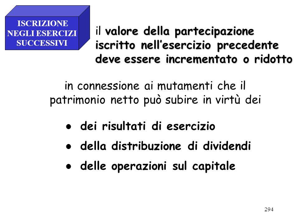 294 valore della partecipazione il valore della partecipazione iscritto nellesercizio precedente deveessere incrementato o ridotto deve essere increme