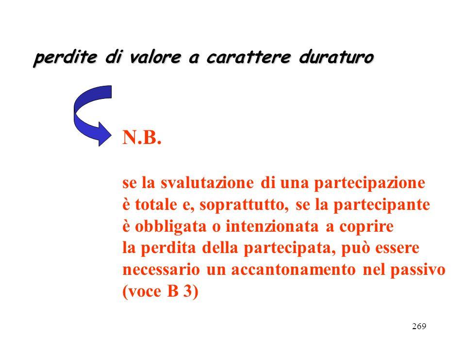 269 perdite di valore a carattere duraturo N.B. se la svalutazione di una partecipazione è totale e, soprattutto, se la partecipante è obbligata o int