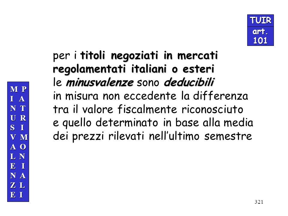 321 TUIR art.101 M P I A N T U R S I V M A O L N E I N A Z L E I titoli negoziati in mercati per i titoli negoziati in mercati regolamentati italiani