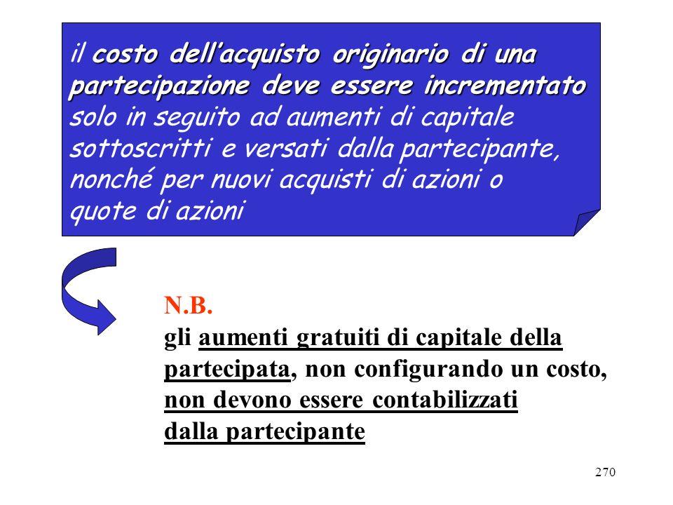 270 costo dellacquisto originario di una il costo dellacquisto originario di una partecipazione deve essere incrementato solo in seguito ad aumenti di