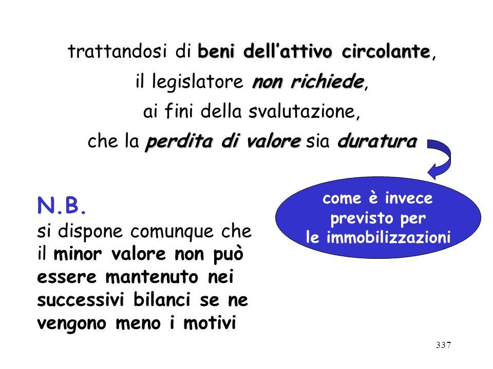337 beni dellattivo circolante trattandosi di beni dellattivo circolante, non richiede il legislatore non richiede, ai fini della svalutazione, perdit