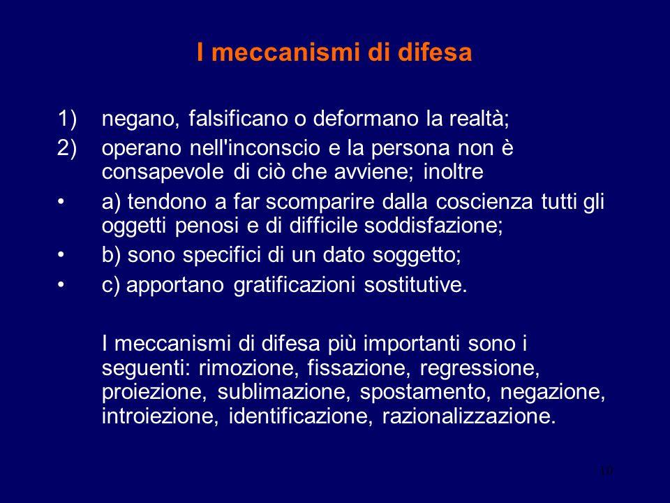 10 I meccanismi di difesa 1)negano, falsificano o deformano la realtà; 2)operano nell'inconscio e la persona non è consapevole di ciò che avviene; ino