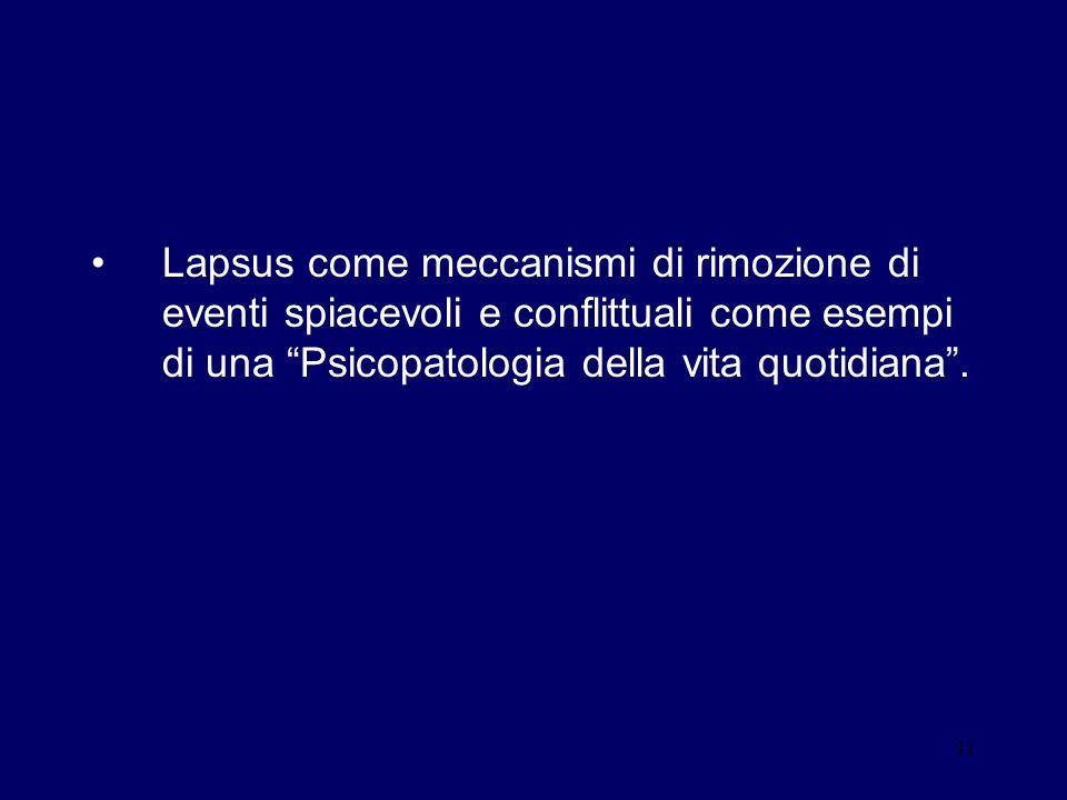 11 Lapsus come meccanismi di rimozione di eventi spiacevoli e conflittuali come esempi di una Psicopatologia della vita quotidiana.