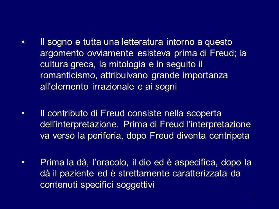 14 Il sogno e tutta una letteratura intorno a questo argomento ovviamente esisteva prima di Freud; la cultura greca, la mitologia e in seguito il roma