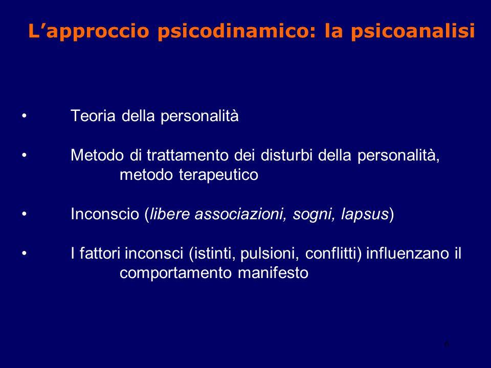 6 Teoria della personalità Metodo di trattamento dei disturbi della personalità, metodo terapeutico Inconscio (libere associazioni, sogni, lapsus) I f